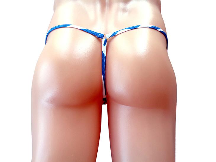 メンズ ウルトラ マイクロビキニ ブルーリーフ柄 Gストリング (3003063)極小/ボディウェアー